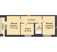 2 комнатная квартира 64,9 м², ЖД Весна - планировка
