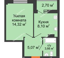 1 комнатная квартира 33,2 м², ЖК Дом на 14-й Линии - планировка