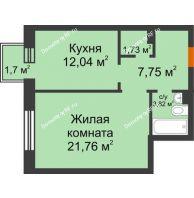 1 комнатная квартира 47,61 м² в ЖК Новоостровский, дом № 2 корпус 2 - планировка