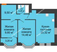3 комнатная квартира 58,88 м², ЖК Каскад на Менделеева - планировка
