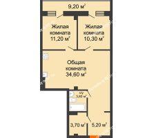 2 комнатная квартира 77,5 м² в ЖК Архиерейская роща, дом № 54б - планировка