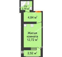 Студия 22,87 м² в ЖК Москва Град, дом 61 - планировка