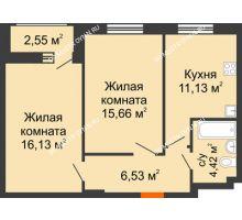 2 комнатная квартира 53,87 м² в ЖК Москва Град, дом 60/1 - планировка