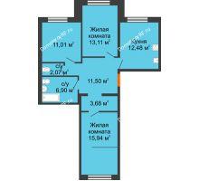 3 комнатная квартира 76,69 м², ЖК Вавиловский Дворик - планировка