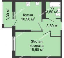 1 комнатная квартира 35 м², ЖК Сказка - планировка