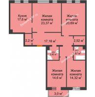 4 комнатная квартира 121,96 м² в ЖК Новоостровский, дом № 2 корпус 1 - планировка
