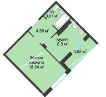 1 комнатная квартира 39,51 м² в ЖК На Вятской, дом № 3 (по генплану)