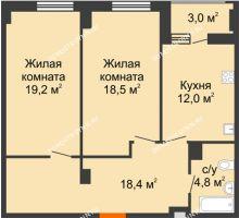 2 комнатная квартира 74,4 м² в ЖК Квартет, дом № 3 - планировка