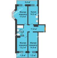 3 комнатная квартира 83,8 м² в Фруктовый квартал Абрикосово, дом Литер 3 - планировка