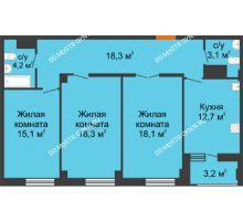 3 комнатная квартира 91,4 м² в ЖК Квартет, дом № 3 - планировка