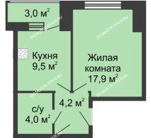 1 комнатная квартира 38,6 м², Жилой дом: ул. Страж Революции - планировка