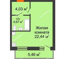 Студия 31,14 м² в ЖК Заречный, дом ГП-49 - планировка