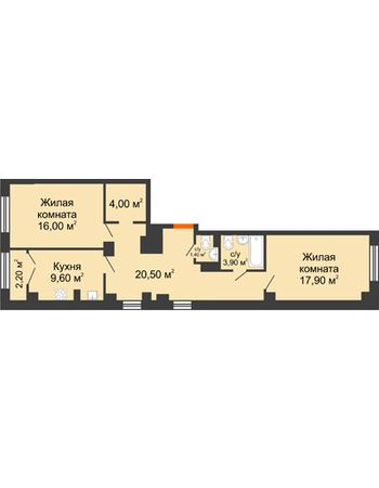 2 комнатная квартира 74,8 м² - ЖК Гагарин