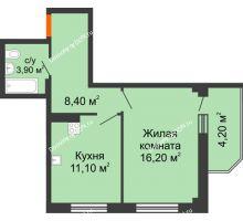 1 комнатная квартира 43,8 м² в ЖК Три Сквера (3 Сквера), дом № 31 - планировка
