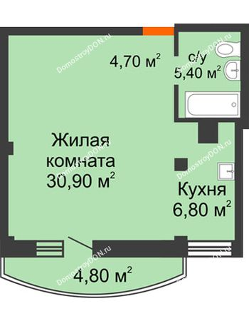 1 комнатная квартира 49,2 м² - ЖК Южная Башня