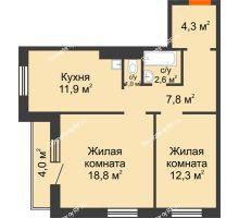 2 комнатная квартира 60,7 м² в ЖК на Калинина, дом № 2.1 - планировка