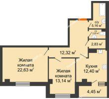 2 комнатная квартира 74,98 м², ЖК Площадь Ленина - планировка