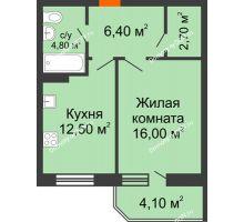 1 комнатная квартира 46,5 м² в ЖК Звездный-2, дом № 3 - планировка