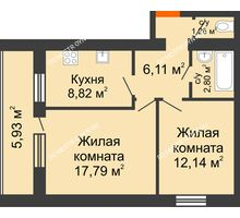 2 комнатная квартира 51,89 м² - ЖК Дом у озера
