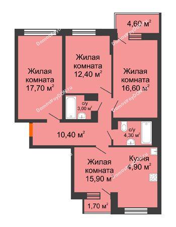 4 комнатная квартира 88,1 м² в ЖК Династия, дом Литер 2