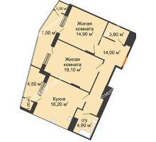 2 комнатная квартира 88,9 м² в ЖК Маршал Град, дом № 3 - планировка
