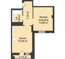 2 комнатная квартира 42,68 м² в ЖК Военвед-Сити, дом № 2 - планировка