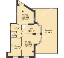 2 комнатная квартира 101,84 м² в ЖК Дом на Провиантской, дом № 12 - планировка