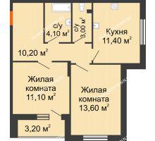 2 комнатная квартира 55 м² в ЖК Цветы, дом № 6-2 - планировка