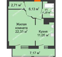 1 комнатная квартира 53,68 м² в ЖК Покровский, дом № 1 - планировка