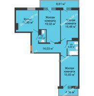 3 комнатная квартира 90 м² в ЖК Боярский двор Премиум, дом 2 очередь - планировка