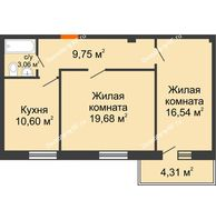 2 комнатная квартира 60 м² в ЖК Боярский двор Премиум, дом 2 очередь - планировка