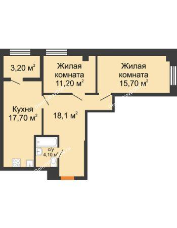 2 комнатная квартира 65,4 м² - ЖК Дом на 18-й Линии, 3