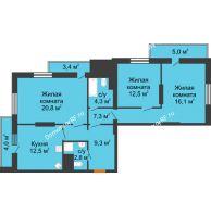 3 комнатная квартира 98 м², ЖК Космолет - планировка