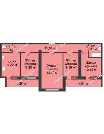 4 комнатная квартира 84,2 м² в ЖК Удачный, дом № 3