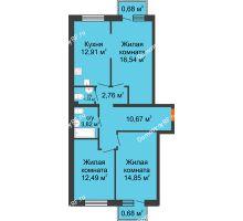 3 комнатная квартира 77,18 м² в ЖК Португалия, дом № 22 - планировка