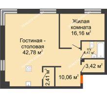 2 комнатная квартира 79,25 м², ЖК Дом на Гребешке - планировка