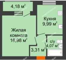 1 комнатная квартира 38,95 м² в ЖК Подкова на Гагарина, дом № 3А - планировка