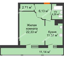 1 комнатная квартира 57,97 м² в ЖК Покровский, дом № 1