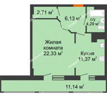 1 комнатная квартира 57,97 м² в ЖК Покровский, дом № 1 - планировка