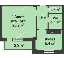 1 комнатная квартира 43,3 м² в ЖК На Победной, дом № 3 - планировка