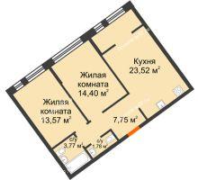 """2 комнатная квартира 64,79 м² в Микрорайон Звездный, дом ГП-1 (Дом """"Меркурий"""") - планировка"""