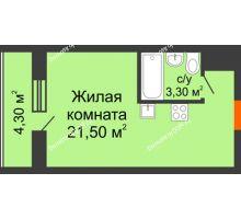 Студия 27 м² в ЖК Левенцовка парк, дом Корпус 8-5 - планировка