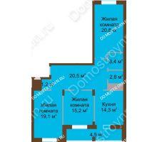 3 комнатная квартира 101,8 м² в ЖК Монолит, дом № 89, корп. 1, 2 - планировка
