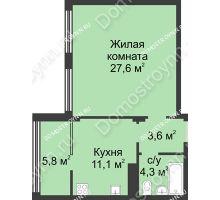 1 комнатная квартира 52,9 м² в ЖК Славянский квартал, дом № 5а, 7 - планировка