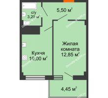 1 комнатная квартира 33,55 м² в ЖК Грин Парк, дом Литер 1 - планировка