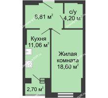 1 комнатная квартира 45,37 м², ЖК Вдохновение - планировка