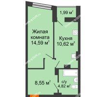 1 комнатная квартира 39,37 м² в ЖК Рубин, дом Литер 3 - планировка