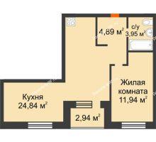 2 комнатная квартира 47,09 м² в ЖК Квартал на Московском, дом Альфа - планировка