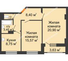 2 комнатная квартира 60,18 м², Жилой дом: ул. Сухопутная - планировка