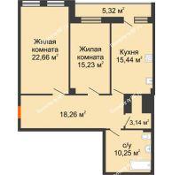 2 комнатная квартира 84,3 м², ЖК 311 - планировка